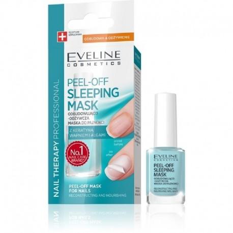 Eveline Nail Therapy Peel-Off Sleeping Mask odbudowująco-odżywcza maska do paznokci z keratyną wapniem i algami 12ml