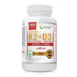 Wish Natural Vitamins Witamina K2 & D3 MK-7 z Natto w oleju MCT Suplement diety 60 kapsułek