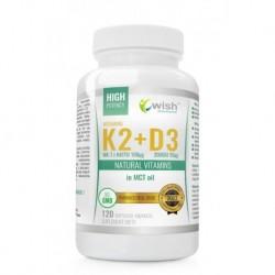 WISH Witamina K2 MK-7 100µg + D3 2000IU 50µg w Oleju MCT Natural Vitamins suplement diety 120 kapsułek miękkich