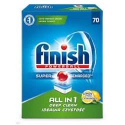 Finish Powerball Super Charged All In 1 Deep Clean tabletki do mycia naczyń w zmywarkach Lemon 70szt