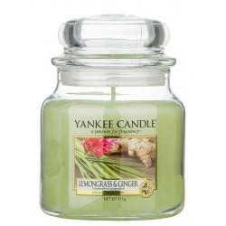 Yankee Candle Med Jar Średnia świeczka zapachowa Lemongrass & Ginger 411g