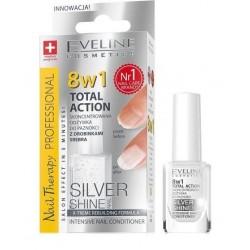Eveline Nail Therapy Total Action 8w1 skoncentrowana odżywka do paznokci z drobinkami srebra 8w1 12ml
