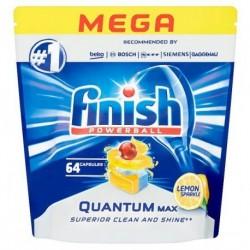 Finish Powerball Quantum Max Kapsułki do mycia naczyń w zmywarkach Lemon Sparkle 64szt