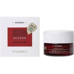Korres Wild Rose Brightening Revitalizing Night Cream Kremowa maska rozświetlająco - regeneracyjna na noc 40ml
