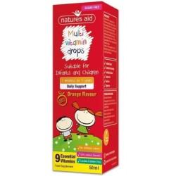 Natures Aid Multivitamin Drops suplement diety dla dzieci w płynie Orange Flavour 50ml