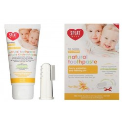 Splat Baby Naturalna pasta do zębów dla dzieci z silikonową szczoteczką na palec Vanilla 40ml
