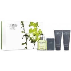Calvin Klein Eternity For Men Woda toaletowa 100ml spray + Woda toaletowa 20ml spray + Balsam po goleniu 100ml + Żel 100ml