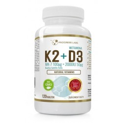 Progress Labs Vitamins Witamina K2 & D3 MK-7 z Natto Suplement diety 120 kapsułek