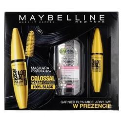 Maybelline The Colossal Volum Express Mascara tusz do rzęs 100% Black + GARNIER Płyn micelarny do skóry wrażliwej 125ml