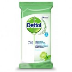 Dettol Antybakteryjne i drożdżakobójcze chusteczki do mycia i dezynfekcji powierzchni Limonka & Mięta 36szt