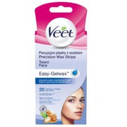 Veet Easy-Gelwax Plastry z woskiem do depilacji twarzy 20szt