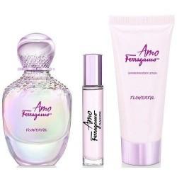 Salvatore Ferragamo Amo Flowerful Woda toaletowa 100ml spray + Woda toaletowa 10ml spray + Balsam do ciała 50ml