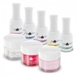 Elisium Zestaw Diamond Maxi Primer + Base Coat + Activator + Top Coat +Brush Saver +Clear +Żel Oriental Red +Żel Pink Petals