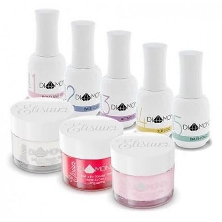 Elisium Zestaw Diamond Maxi Primer + Base Coat + Activator + Top Coat +Brush Saver +Clear +Żel Oriental Red +Żel Pink Petals