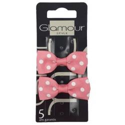 Glamour Spinki do włosów Różowa Kokarda w Kropki 2szt