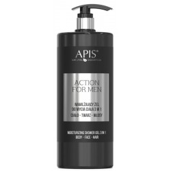 Apis Action For Men 3in1 nawilżający żel do mycia ciała twarzy i włosów 1000ml