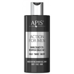 Apis Action For Men 3in1 nawilżający żel do mycia ciała twarzy i włosów 300ml