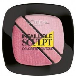 L`Oreal Blush Sculpt Trio Contouring Blush Róż do policzków 201 Soft Rosy 3,8g