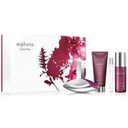 Calvin Klein Euphoria Woda perfumowana 100ml spray + 10ml spray + Balsam do ciała 100ml + Mgiełka do ciała 150ml