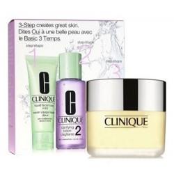 Clinique 3-steps Typ skóry 2 Zestaw Mydło w płynie 50ml + Płyn oczyszczający 100ml + Krem nawilżający 30ml