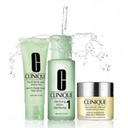 Clinique 3-steps Typ skóry 1 Zestaw Mydło w płynie 50ml + Płyn oczyszczający 100ml + Krem nawilżający 30ml