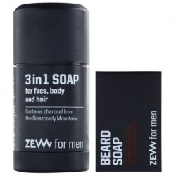 Zew For Men Komplet Brodacza Mydło do brody 85ml + Mydło 3w1 do twarzy, ciała i włosów 85ml