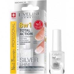 Eveline 8in1 Total Action Silver Shine Odżywka do paznokci z drobinkami srebra 12ml
