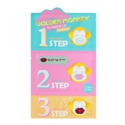 Holika Holika Golden Monkey Glamour Lip 3-Step Kit Trójstopniowy produkt regenerująco-nawilżający do ust