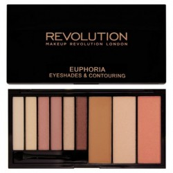 Makeup Revolution Euphoria Eyeshades & Contouring Palette Paleta cieni i zestaw do konturowania twarzy Bare 18g