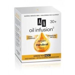 AA Oil Infusion Argan Marula Oil Q10 30+ Night Cream Krem na noc odżywienie + wygładzenie zmarszczek 50ml