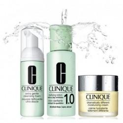 Clinique 3-steps Typ skóry 1 i 2 Zestaw Pianka do mycia twarzy 45ml + Płyn oczyszczający 100ml + Krem nawilżający 30ml