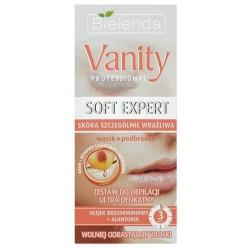 Bielenda Vanity Professional Soft Expert Zestaw do depilacji twarzy ultra delikatny krem 15ml + kompres 10ml + szpatułka