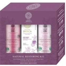 Siberica Professional Natural Restoring Zestaw do włosów farbowanych Szampon 250ml + Odżywka 250ml + Krem do rąk 75ml