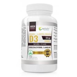 Wish Natural Vitamin D3 & Cholecalcyferol z Lanoliny 2000IU Suplement diety 120 kapsułek