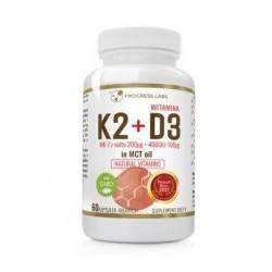 Wish Natural Vitamins witamina K2 & D3 MK-7 z Natto Suplement diety 60 kapsułek
