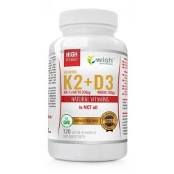 Wish Natural Vitamins Witamina K2 & D3 VitaMK-7 z Natto Suplement diety 120 kapsułek