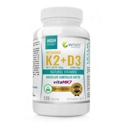 Wish Natural Vitamins Witamina K2 & D3 MK-7 z Natto Suplement diety 120 kapsułek