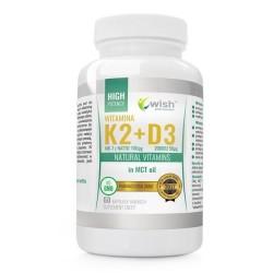 Wish Natural Vitamins Witamina K2 & D3 Suplement diety 60 kapsułek